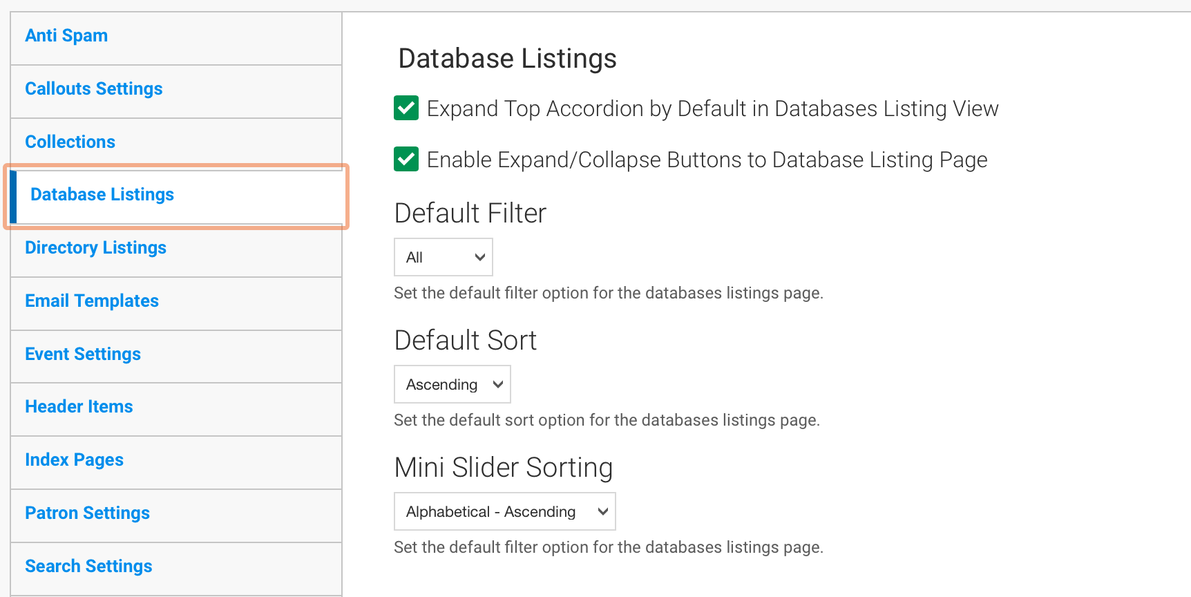 Collections Site Configuration Tab